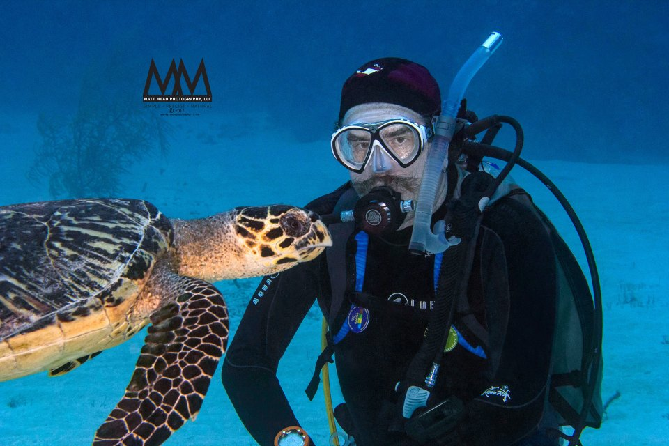 SCUBA diver with hawksbill turtle