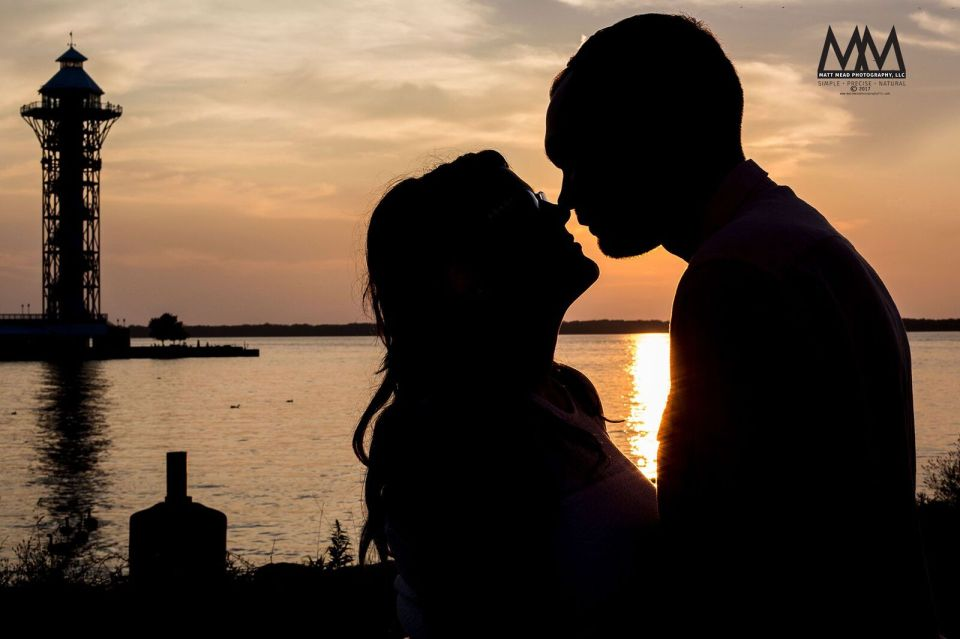 erie pa engagement kissing silhouette photo