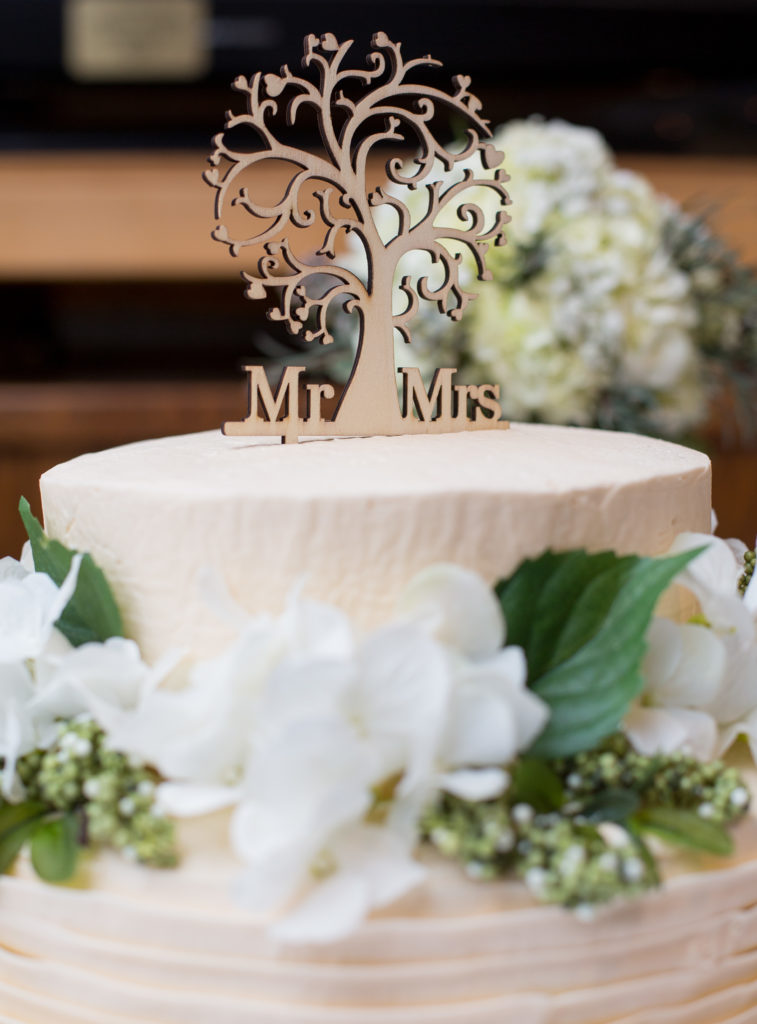 wedding cake with Mr & Mrs. tree cake topper in Erie, PA