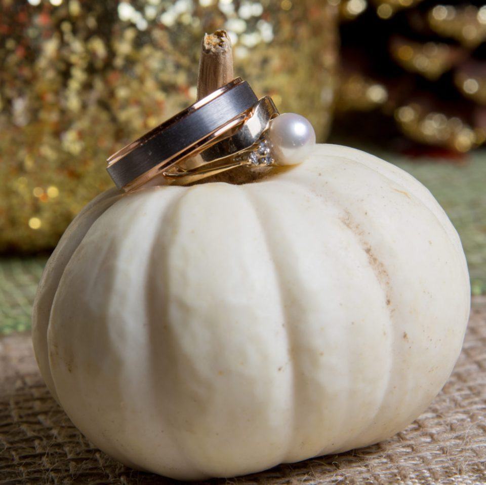wedding rings staged on a small white pumpkin at a late fall wedding in Erie, PA