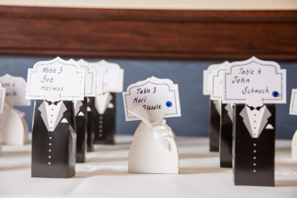place card and their holders at Sheraton Bayfront hotel wedding in Erie, PA