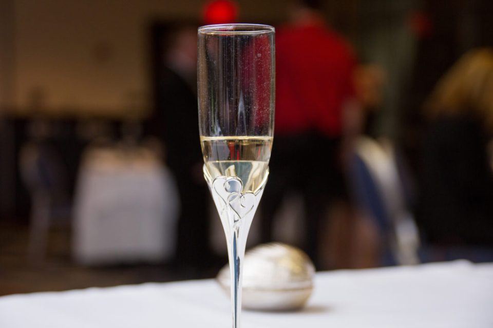 champagne flute from a Sheraton Bayfront hotel wedding in Erie, PA