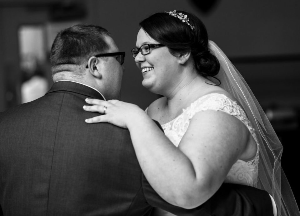 bride and groom during their first dance in Erie, PA