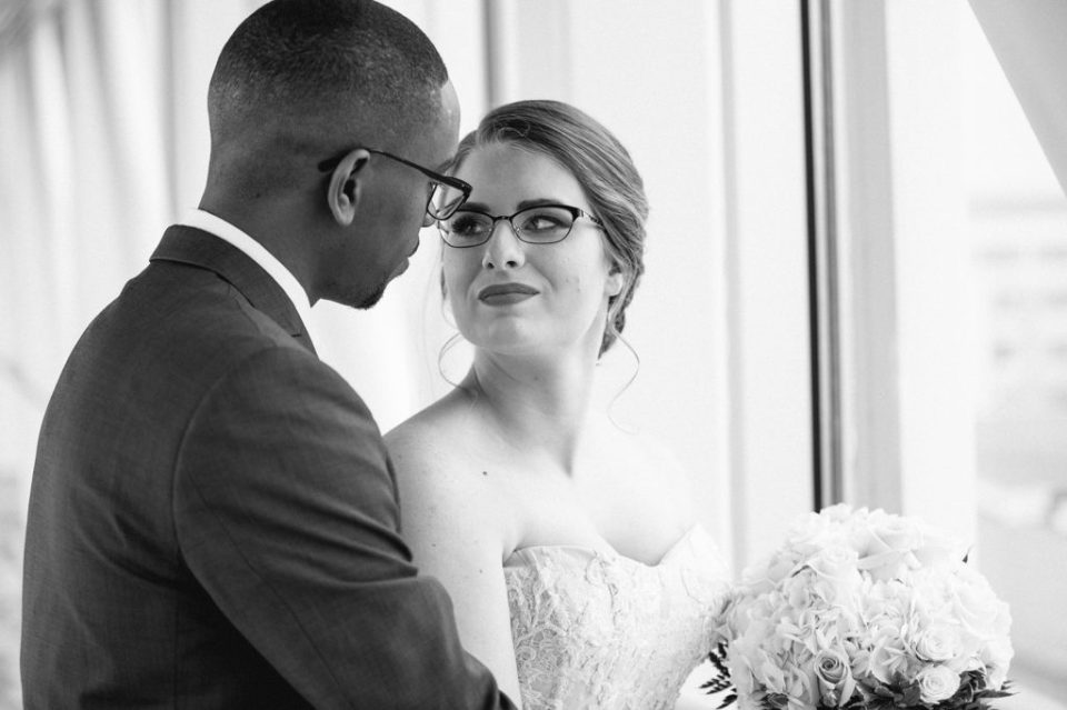 bride and groom during first look at Sheraton Bayfront Hotel wedding in Erie, PA