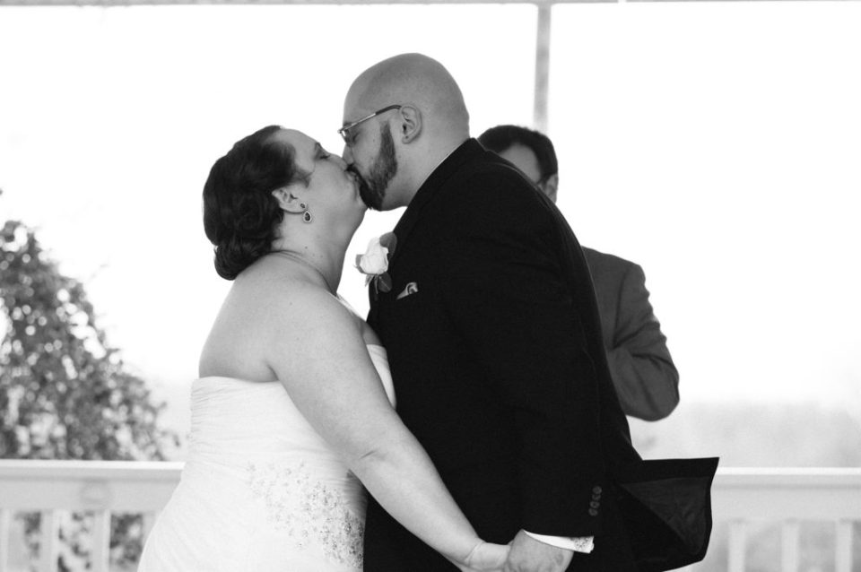 bride and groom share first kiss at Star Wars themed wedding in Pittsburgh PA