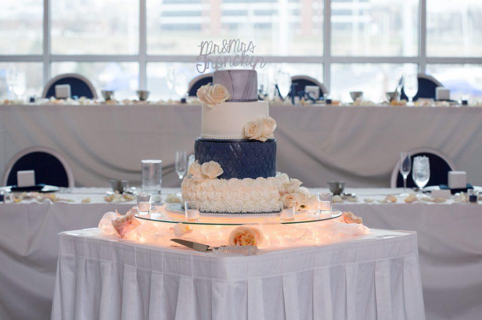 cake table set up at Sheraton Bayfront Hotel wedding in Erie, PA