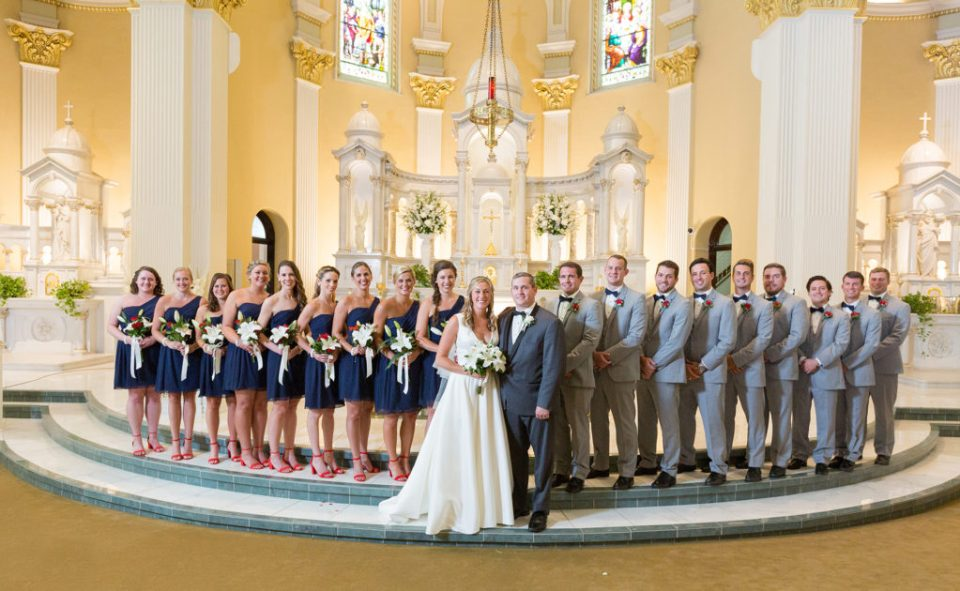 bride, groom and their bridal party at Saint Patrick's wedding