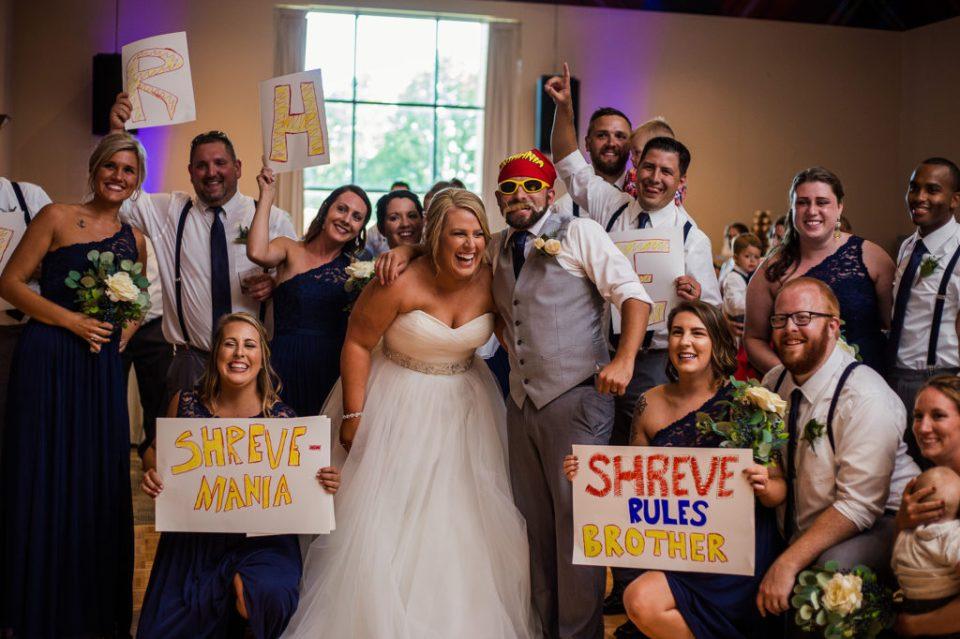 bridal party makes WWE style entrance at Edinboro University wedding