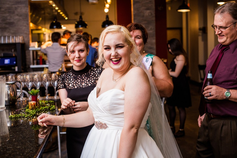 Alexsys laughing during their reception at Bakn in Pittsburgh