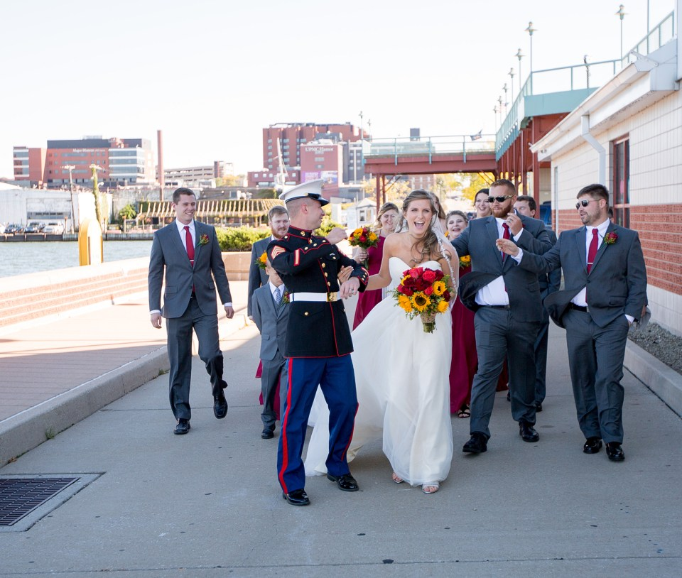 Bride and Groom with bridal party on Dobbins Landing in Erie PA