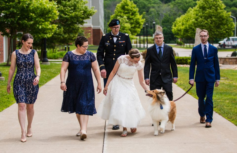 Bridal party walks the Edinboro University campus