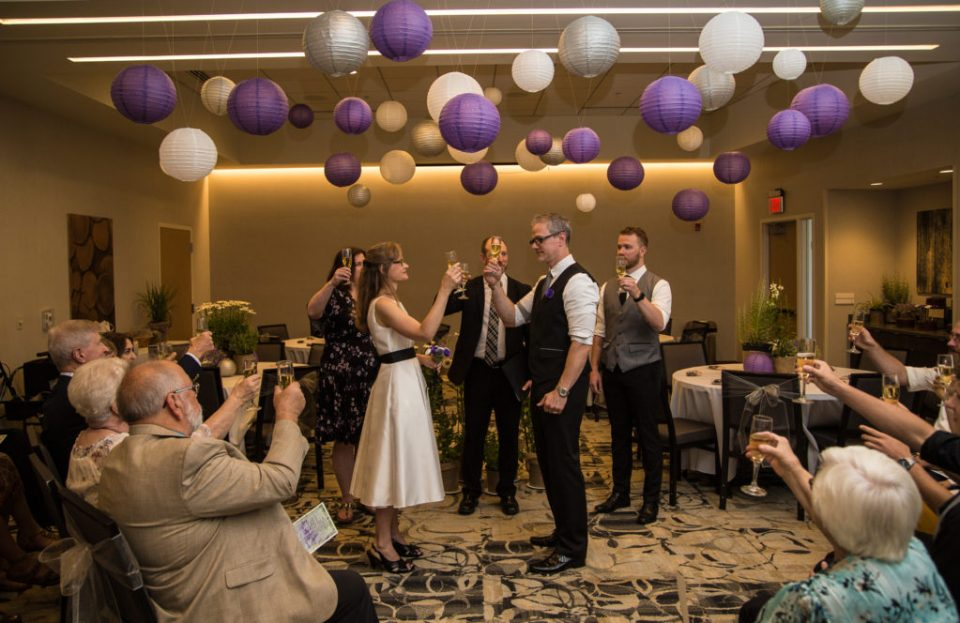 Champagne toast at a Courtyard Marriott wedding