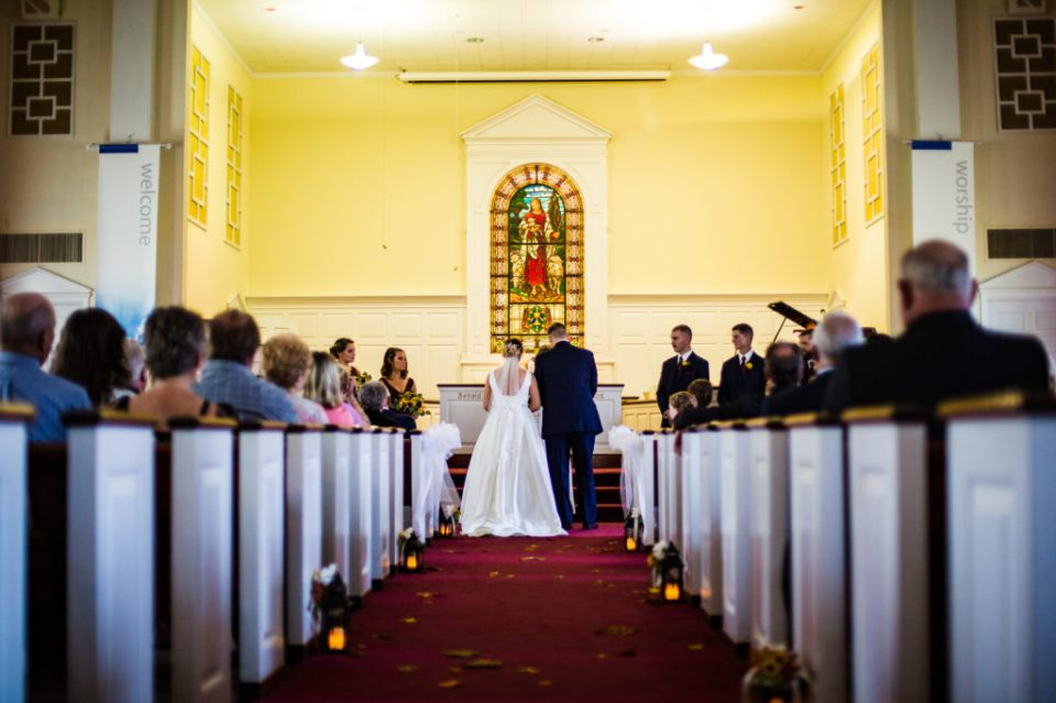 A wedding ceremony at Emmanuel Presbyterian Church