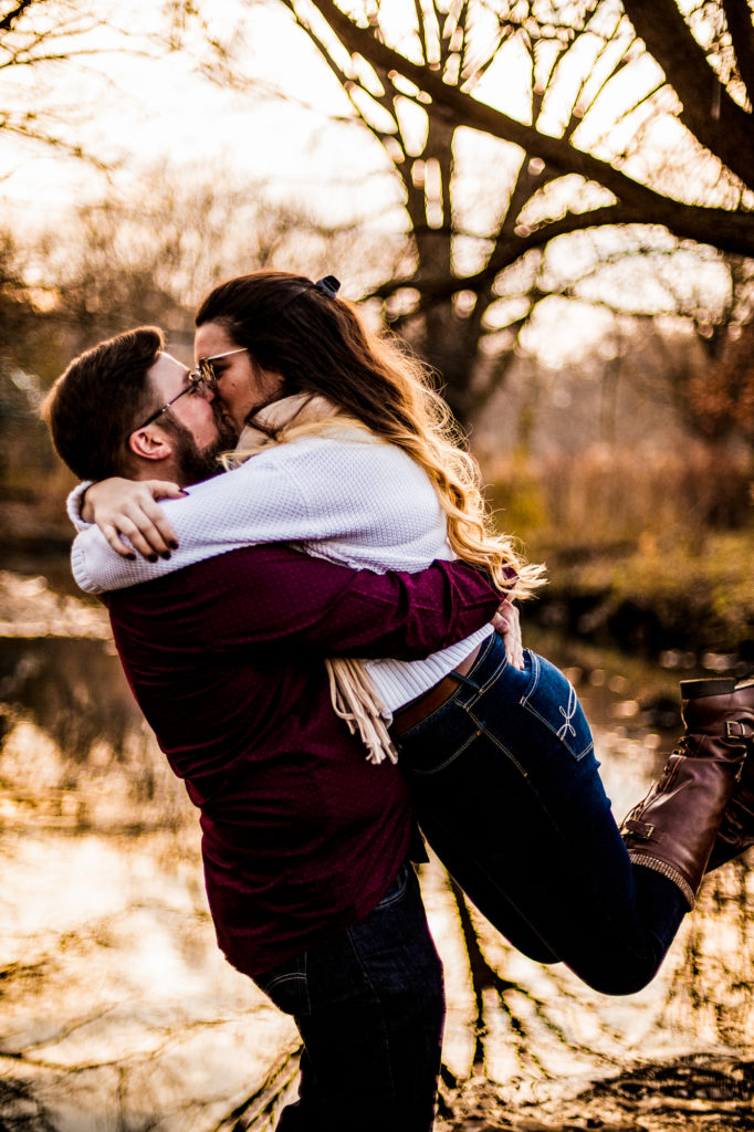 Woman jumps into fiance's arms in engagement phots around Erie PA