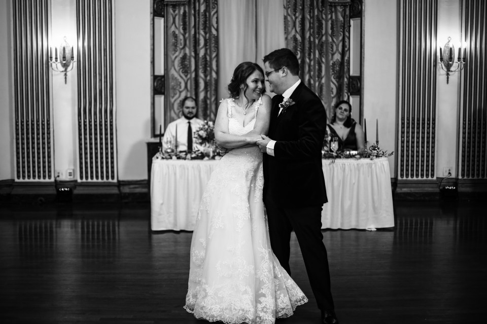Bride and groom share first dance at their wedding at the George Washington Hotel