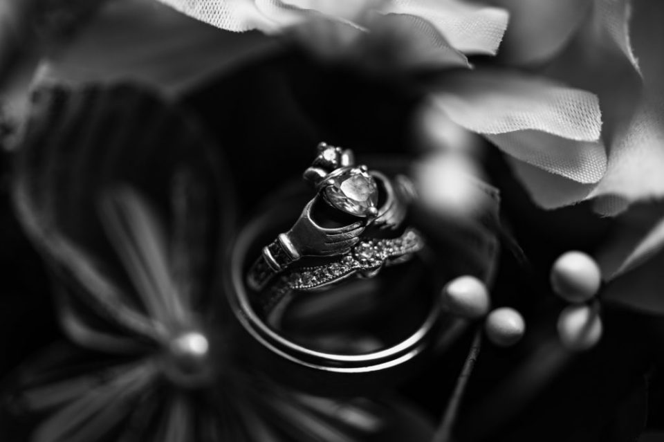 Wedding rings placed among flower details
