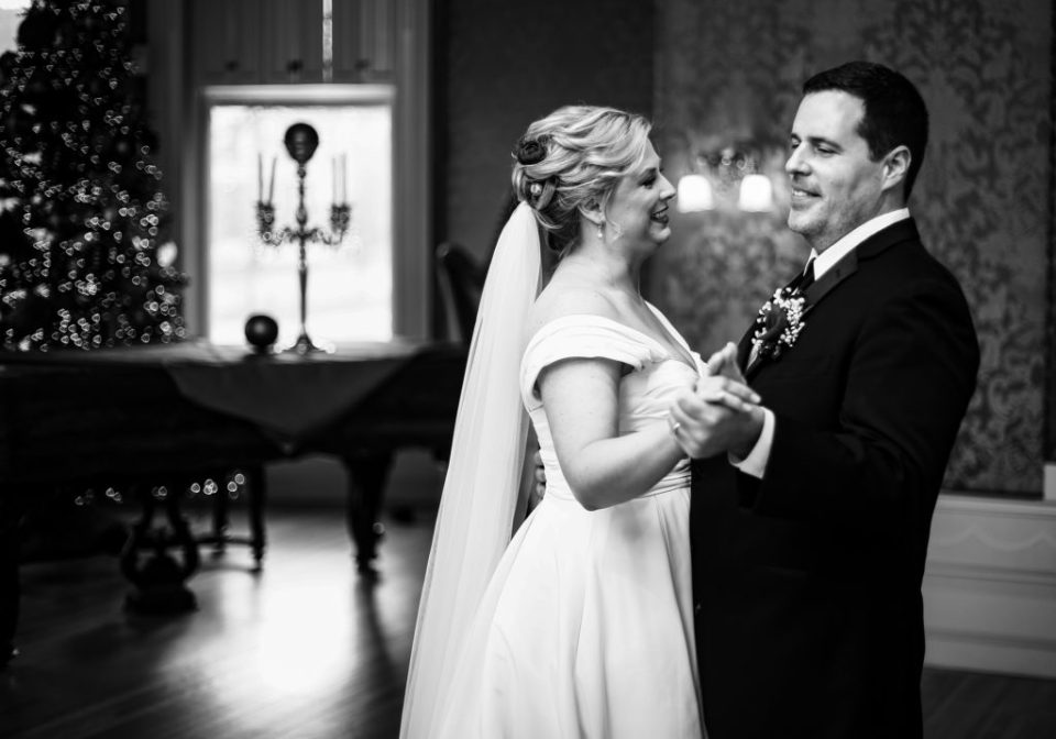 First dance during wedding at Watson Curtze Mansion in Erie, PA
