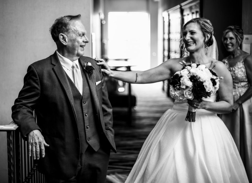 Bride has first look with her father at Sheraton Bayfront Hotel in Erie, PA