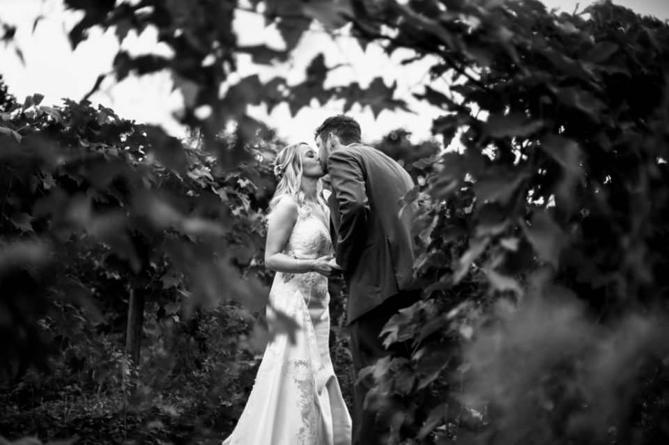 Close up of couple kissing behind some vines before wedding at Quincy Cellars