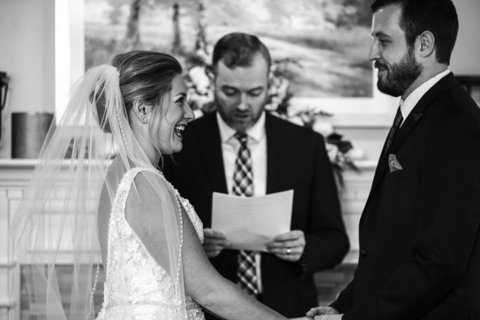Couple exchanges vows in their home during micro wedding in Erie, PA