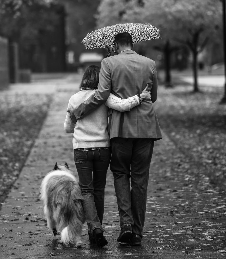 Couple walks with their dog under an umbrella during engagement photos in Edinboro, PA