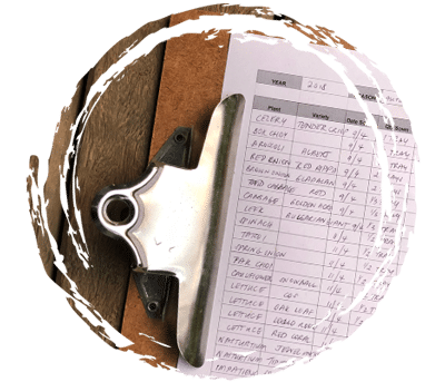 Clipboard with paperwork.