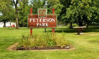 Peterson Park sign in Mattoon, Illinois