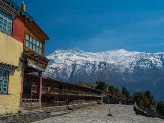 Abandoned monastery with the Annapurna range in the background