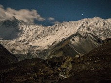 A night shot of Tilicho peak from the base camp - the calm after the storm