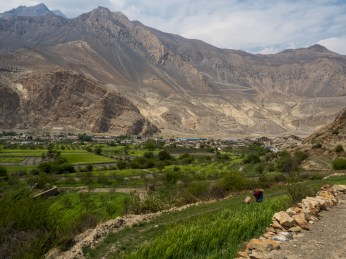 Lush fields with the dry hills of Jomsom in the background