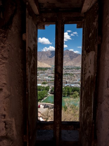 A view out over Lhasa from inside the Potala Palace