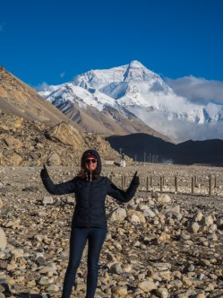 Charlotte with Mt Everest from the base camp where we slept