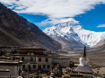 The world's highest Monastery enjoys a good view of Everest