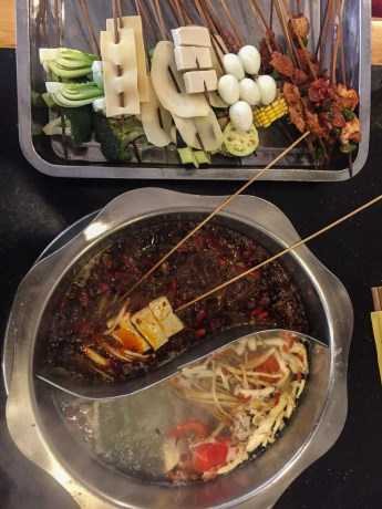 Our second Chengdu hotpot - this time with the 50/50 broth. A much smarter idea
