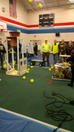 A robot from another team testing out their launcher (comp 1).