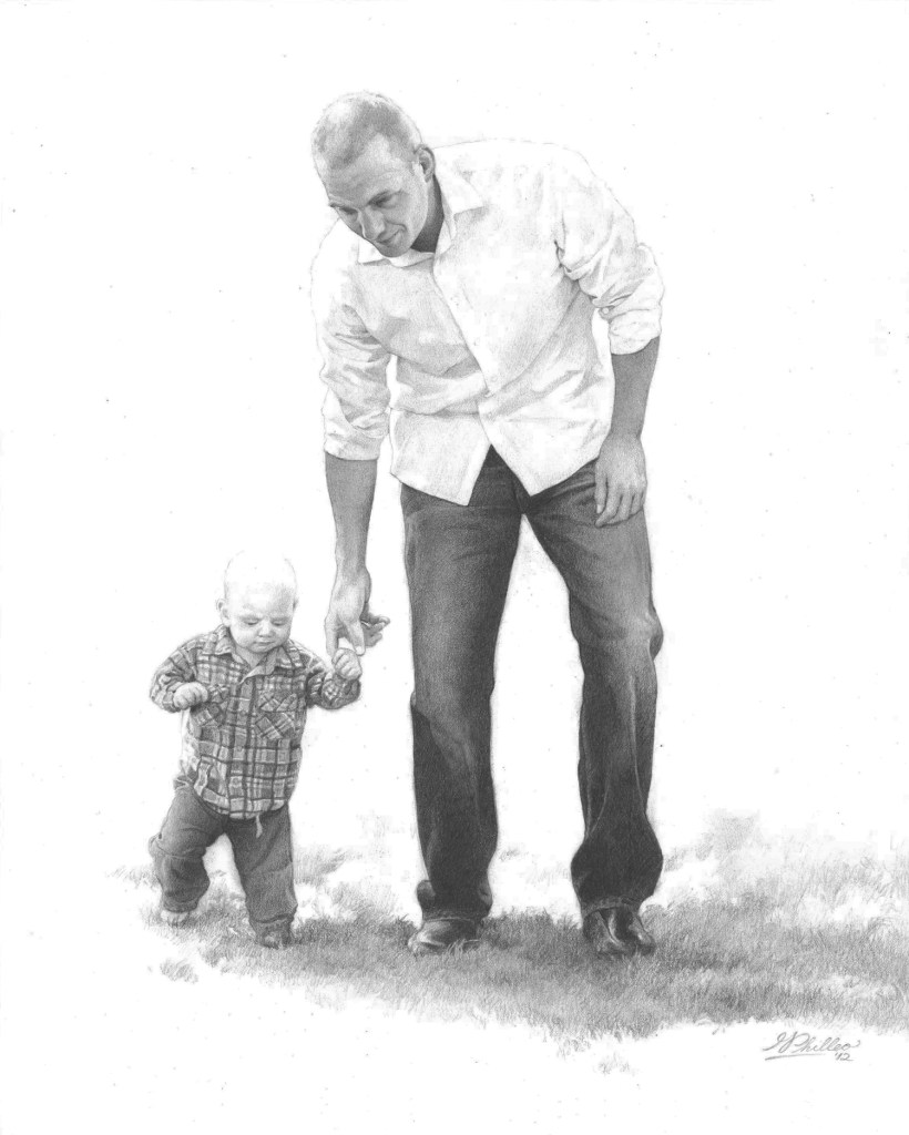 """Walking in His Footsteps"", 11 x 14, pencil on paper, by artist Matt Philleo"