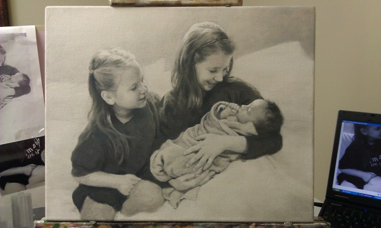 16 x 20 Acrylic on Canvas Portrait of Eric H's family, sketch, by Matt Philleo