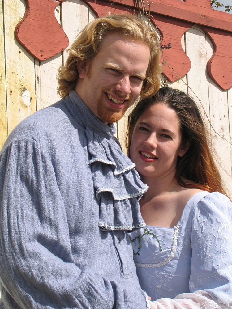 My wife and I in our renaissance-themed wedding attire.