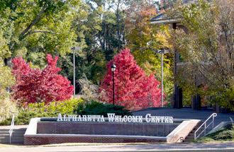 Alpharetta welcome center sign