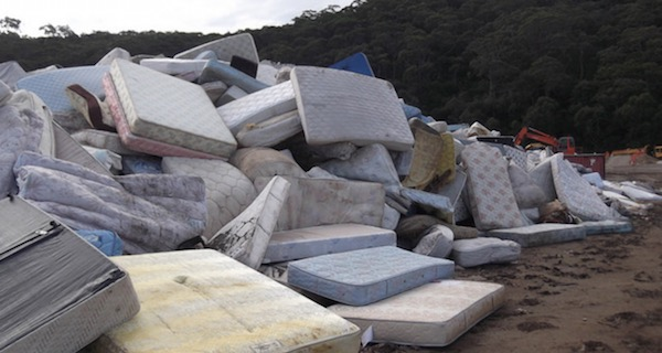 Mattresses piled up at local landfill in Hayward, CA