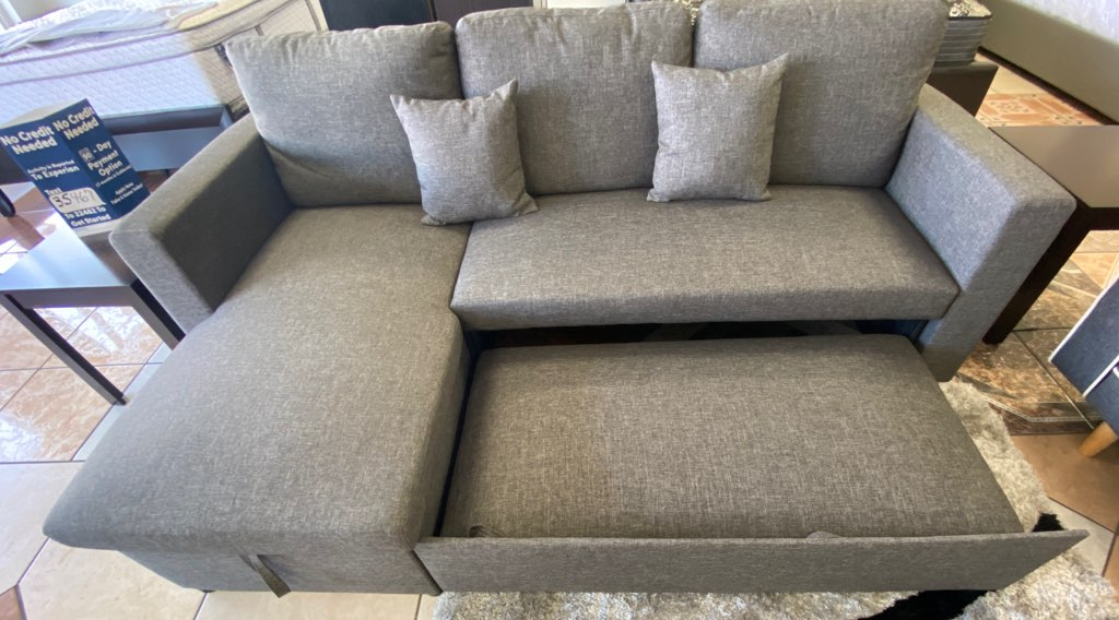 hfc grey linen sectional sofa w chaise storage pull out bed