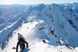 Luke Seed tops out on Grizzly Mountain, Rogers Pass