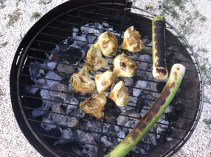 Artichokes and leeks charring
