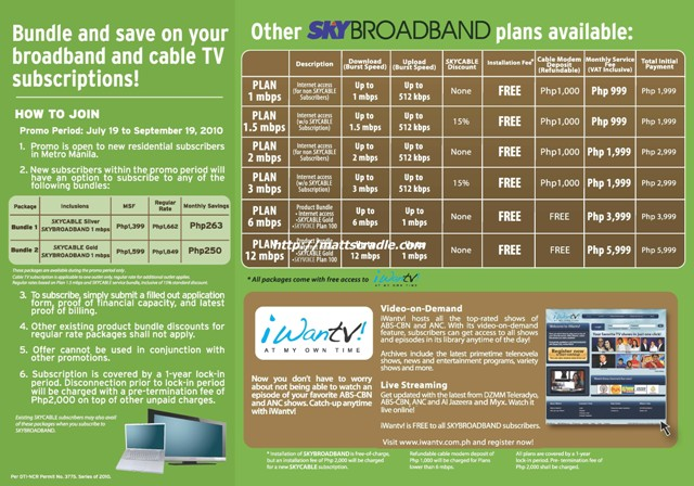 Sky Cable Internet Plan