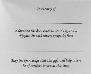 kindness MKRO memorial card