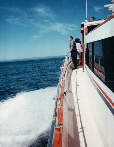 The late great Peter Marks, on a boat