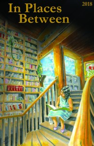 In Places Between 2018 book cover illustration and design by Matt Stewart of a girl reading a book within a fantastical library