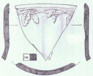 drawing of a historic ceramic fragment