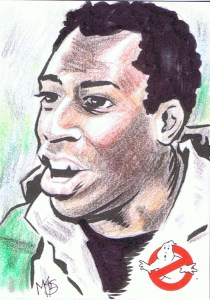 artist return sketch card of hudson from ghostbusters cryptozoic