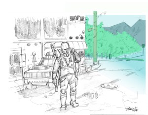 environment design with figure for small film project